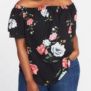 Old Navy off the shoulder black floral top